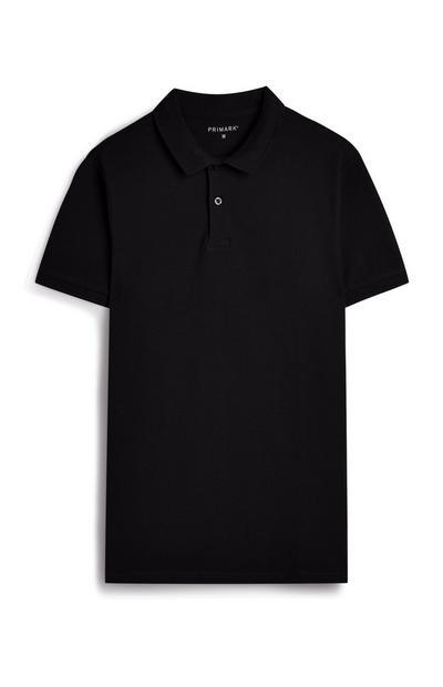 Polo noir à manches courtes