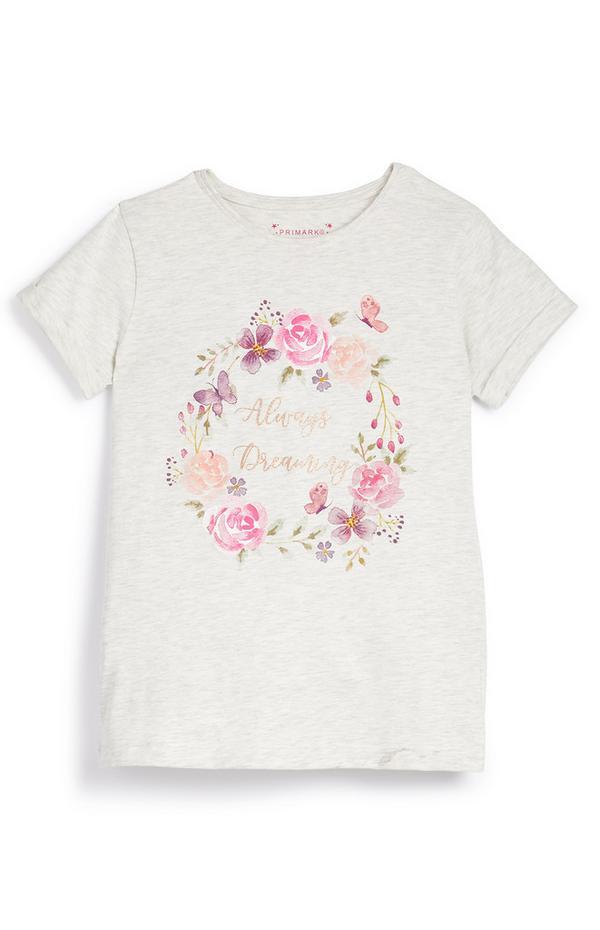 T-shirt met bloemenprint Always Dreaming voor meiden