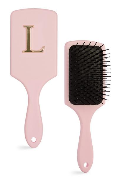 Pink L Initial Paddle Brush