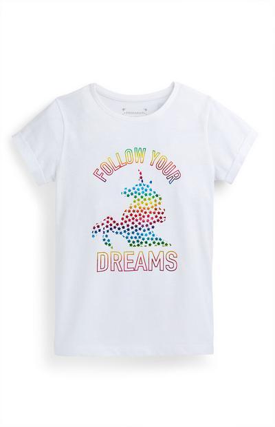 Older Girl White Unicorn T-Shirt