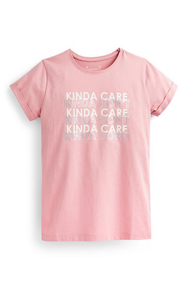 Roze T-shirt met slogan voor oudere meisjes