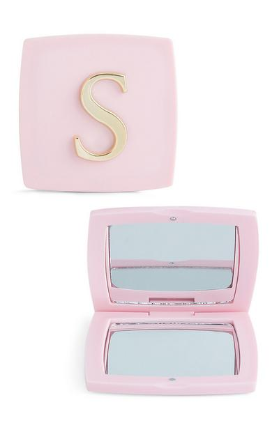 Pink S Initial Compact Mirror