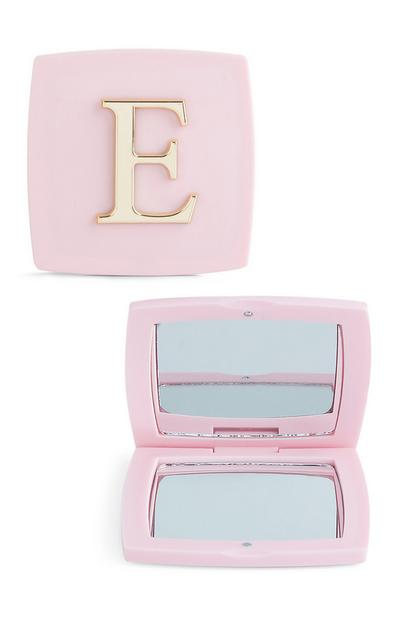 Pink E Initial Compact Mirror