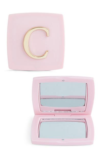 Pink C Initial Compact Mirror