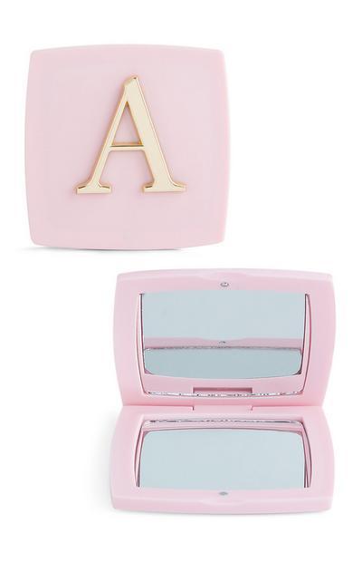 Espejo de bolsillo rosa con inicial A