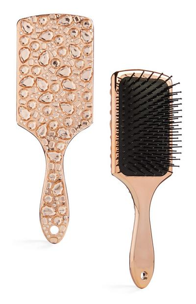 Rose Gold Jewel Encrusted Paddle Brush