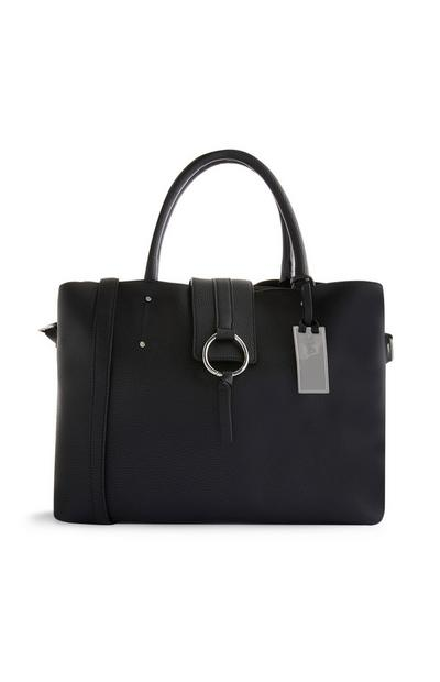 Black Tab Over Tote Bag