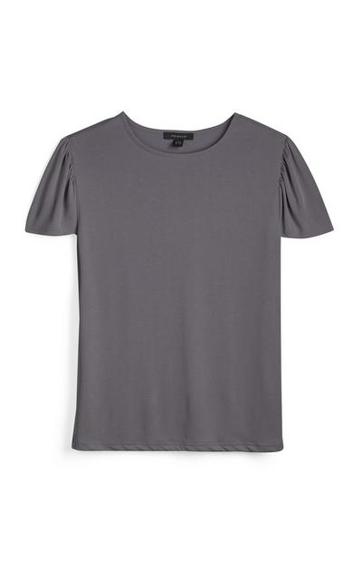 Charcoal Cropped Sleeve T-shirt
