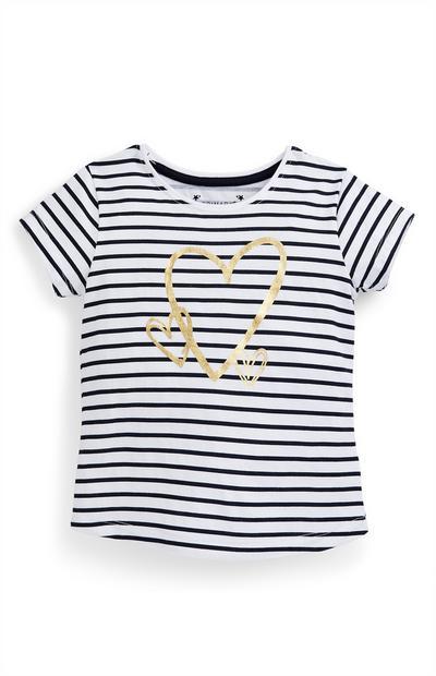 T-shirt bleu marine rayé avec cœur fille