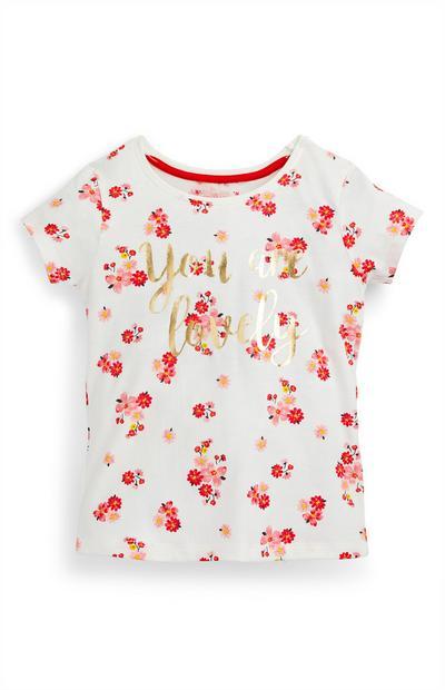 Younger Girl Floral Print Slogan T-Shirt