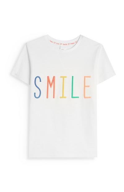 Stacey Solomon Younger girl White Smile T-Shirt