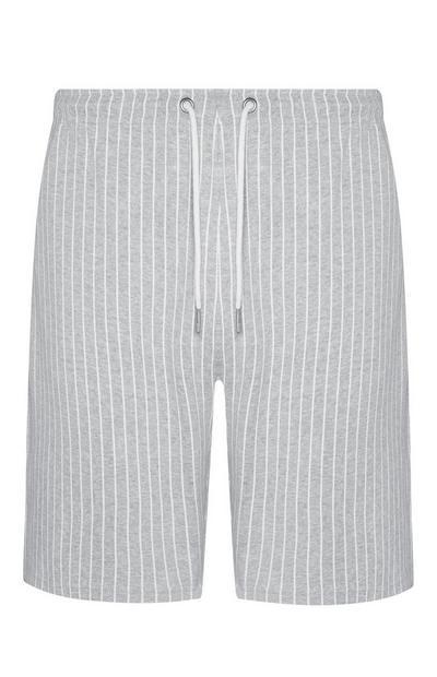 Pantalón corto gris a rayas finas Kem Cetinay