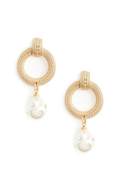 Circular Gold Textured Pearl Drop Earrings