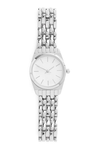 Zilverkleurig horloge met schakelband