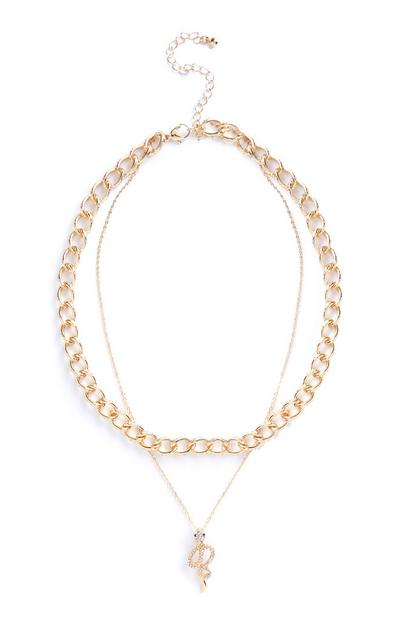Gold Double Layer Chain And Snake Pendant Necklace