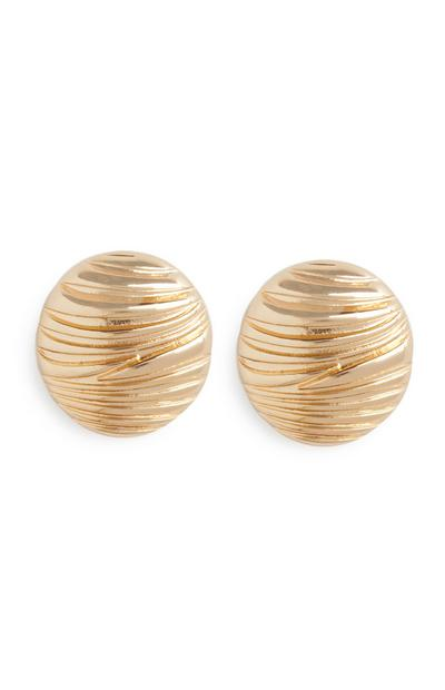 Gold Embossed Circle Stud Earrings