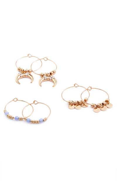 Charm Bead Mini Hoops 3 Pack