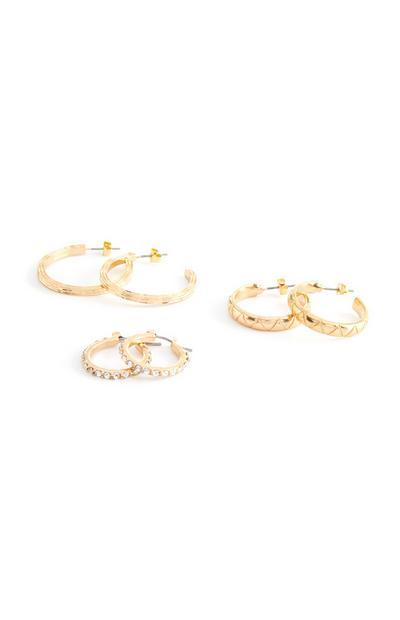3-Pack Gold Rhinestone Mixed Sized Hoop Earrings