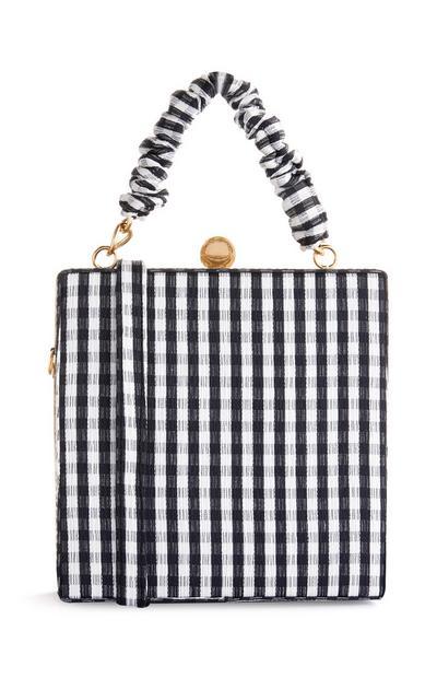 Black And White Gingham Box Bag