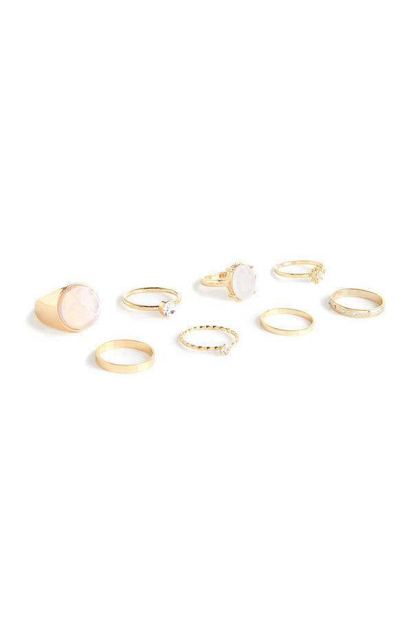 Goldfarbene Ringe in verschiedenen Designs, 8er-Pack