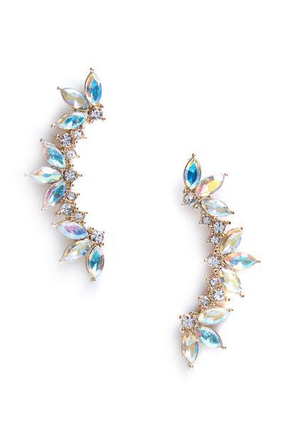 Blue Diamante Stone Cuff Earrings