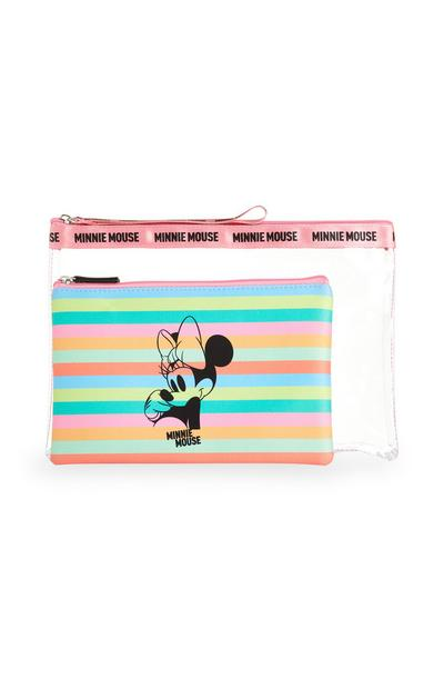 Clear Minnie Mouse Stripe Clear Bag With Pouch 2Pc