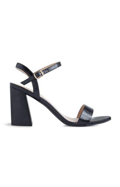 Black Croc Print Ankle Strap Heeled Sandal