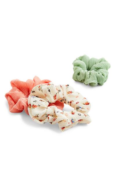 3-Pack Green And Coral Scrunchies
