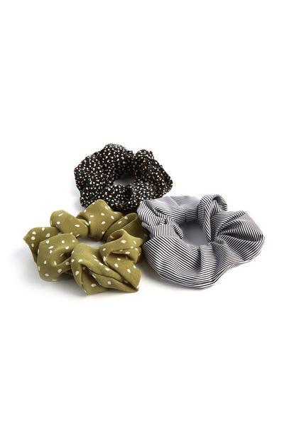 Haarwikkels in zwart, koraalkleur en met luipaardprint, set van 3