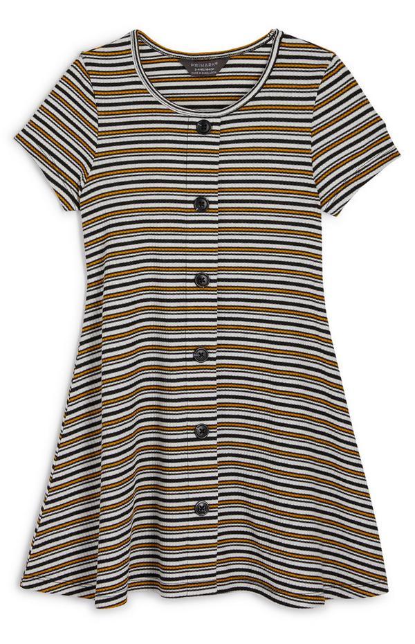 Gestreiftes Jersey-Kleid mit Knopfleiste (kleine Mädchen)