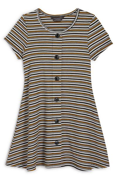 Younger Girl Button Detail Striped Jersey Dress