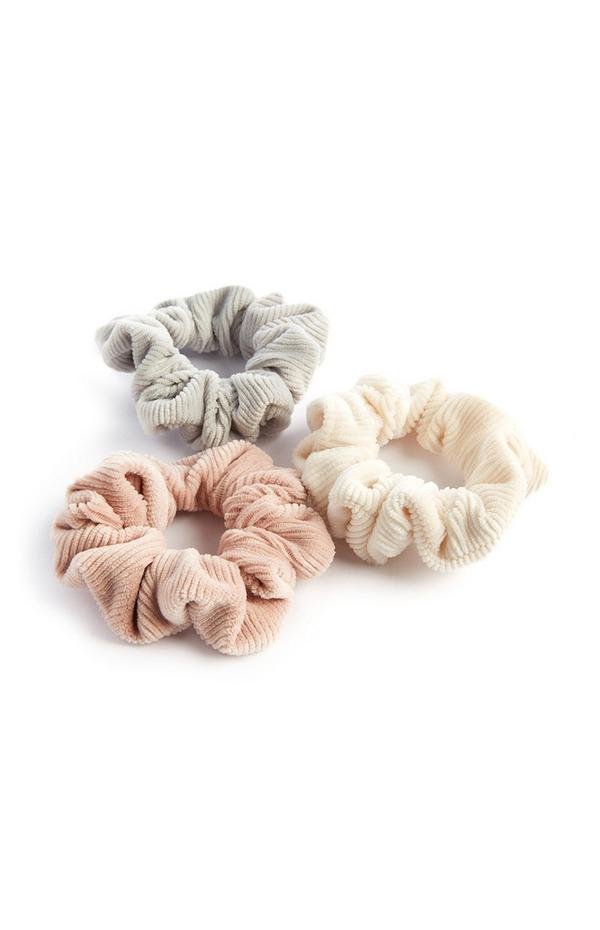 3 elastici per capelli pastello in velluto a coste