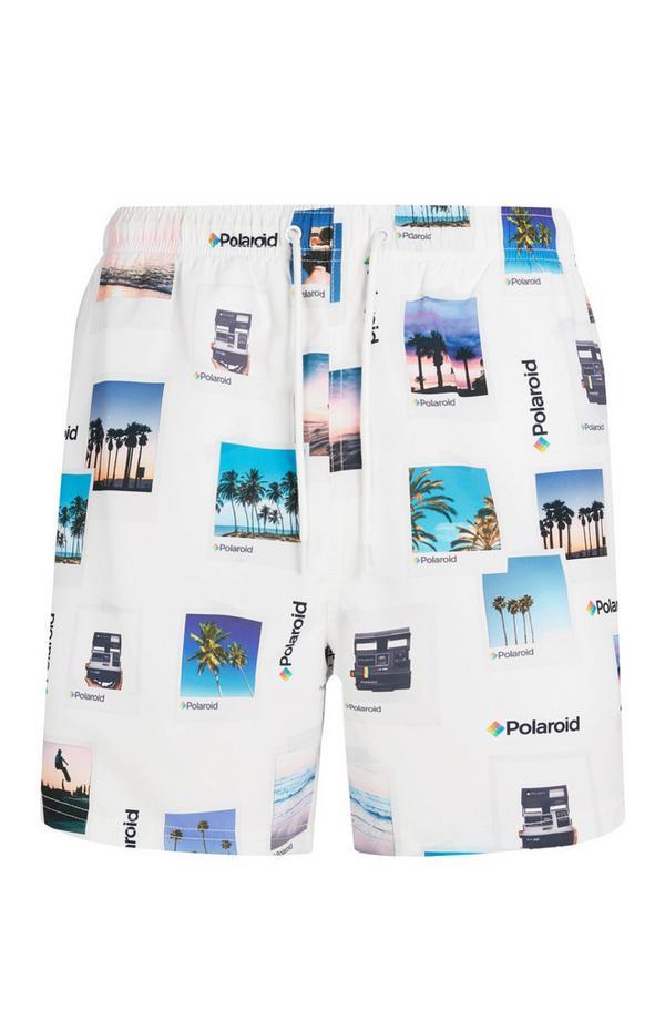 Weiße Polaroid-Badeshorts