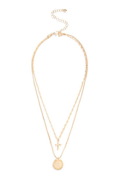Gold Cross Multi Chain Necklace
