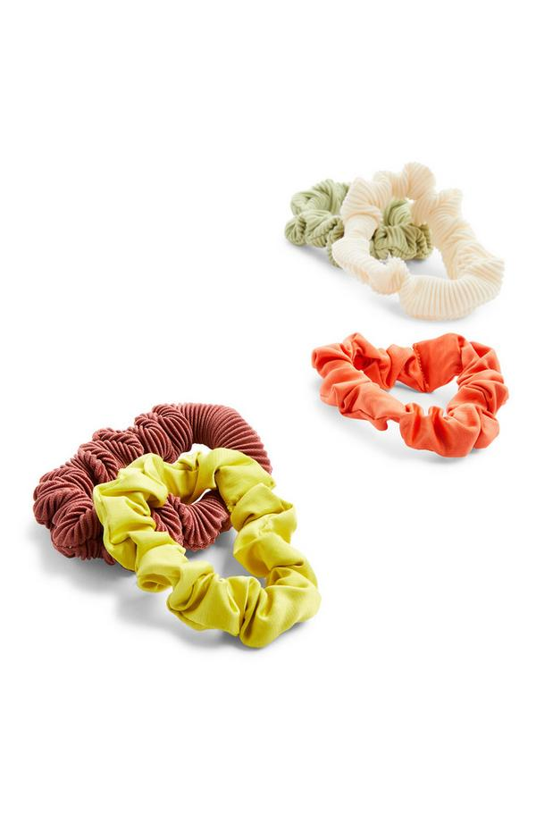 Mehrfarbige, dünne Haargummis in Knitteroptik, 5er-Pack