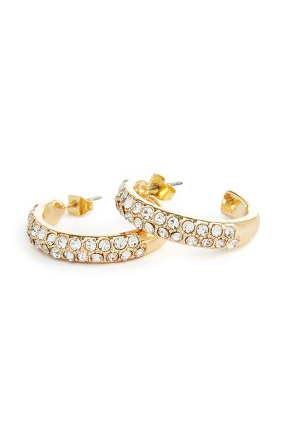 Gold Small Diamante Hoops