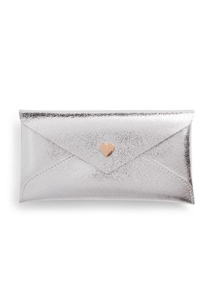 Silver Basic Heart Button Glasses Case