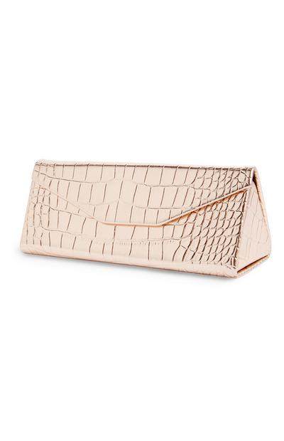 Gold Faux Snakeskin Fold Glasses Case