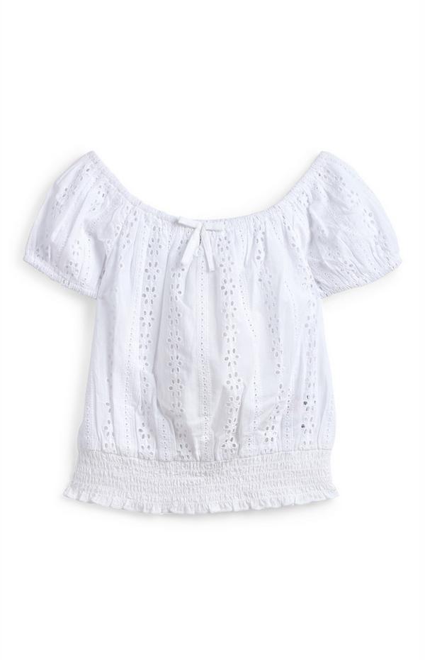 Camicia bianca punto smock in pizzo sangallo da ragazza