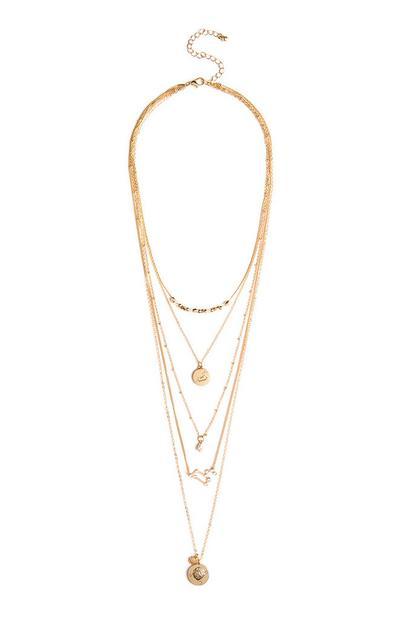 Gold Leo Horoscope Multi Row Necklace