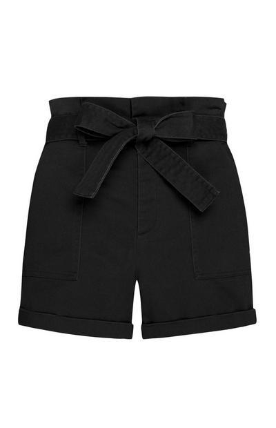 Black Paper Bag Waist Shorts