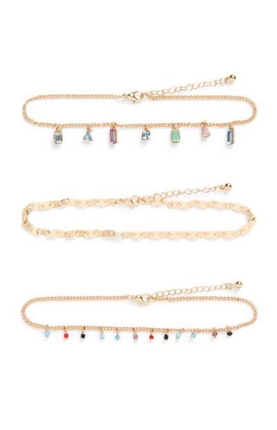 Gold Coloured Gem Anklets 3Pk
