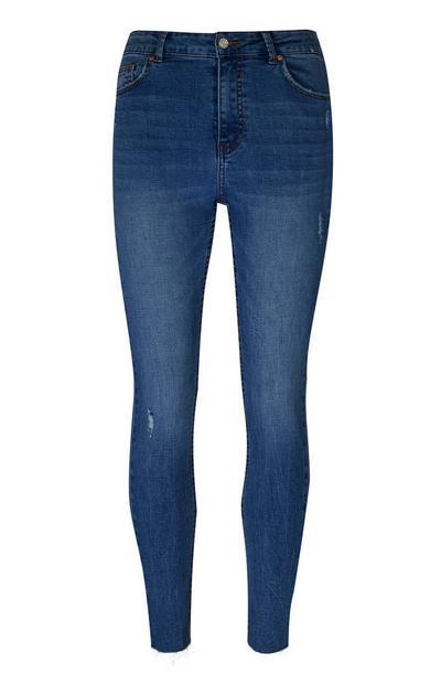 Dark Blue Hem Skinny Jeans