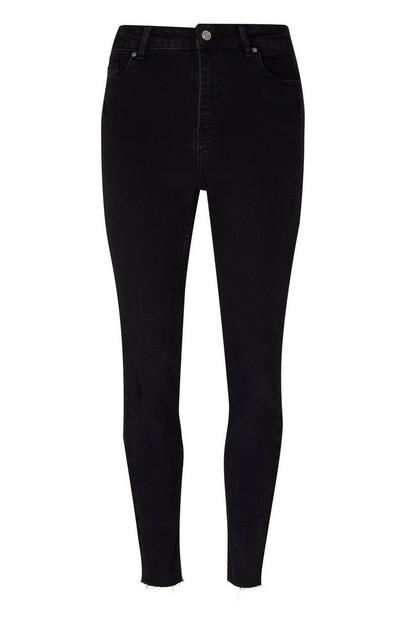 Black Raw Hem Skinny Jeans