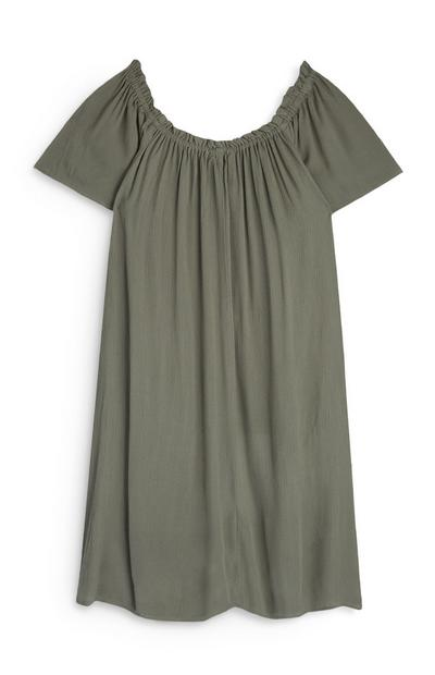Khaki Bardot Dress