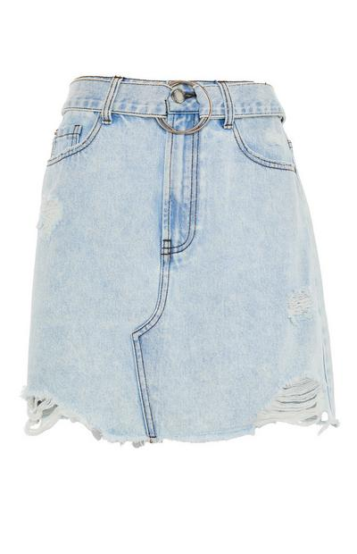 Faded Blue Denim Ripped Hem Skirt