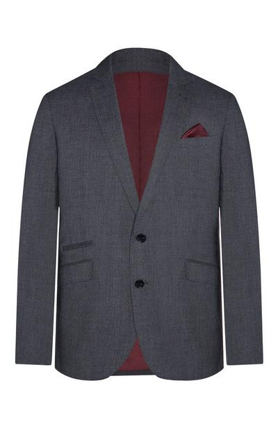 Dark Grey And Burgundy Lining Blazer