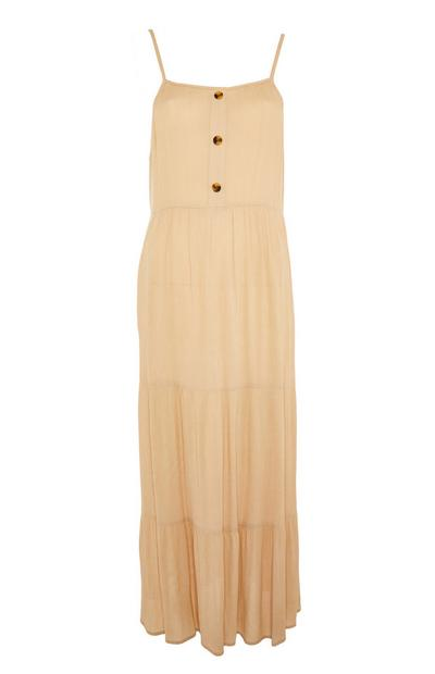 Beige Sleeveless Tiered Crinkle Maxi Dress