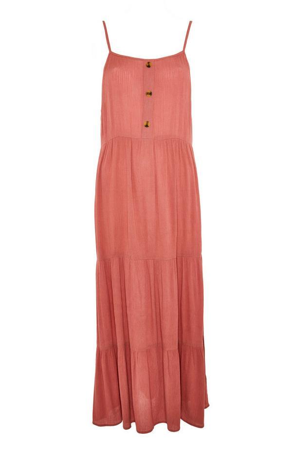 Gerimpelde mouwloze koraalkleurige maxi-jurk met stroken