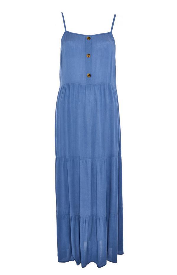Gerimpelde mouwloze blauwe maxi-jurk met stroken